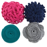 Felt Flowers, Pkg of 4, Touch of Teal