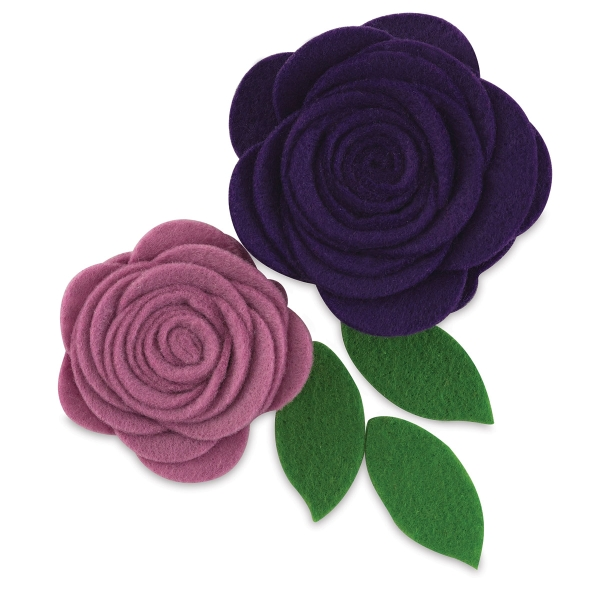 Felt Flowers, Pkg of 2, Pocket of Purple