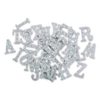 Chipboard Stickers, Alphabet, Silver Foil