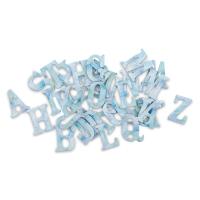 Chipboard Stickers, Alphabet, Blue Watercolor
