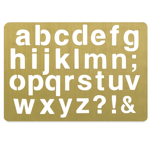 Brass Stencil, Alphabet, Emma Lowercase