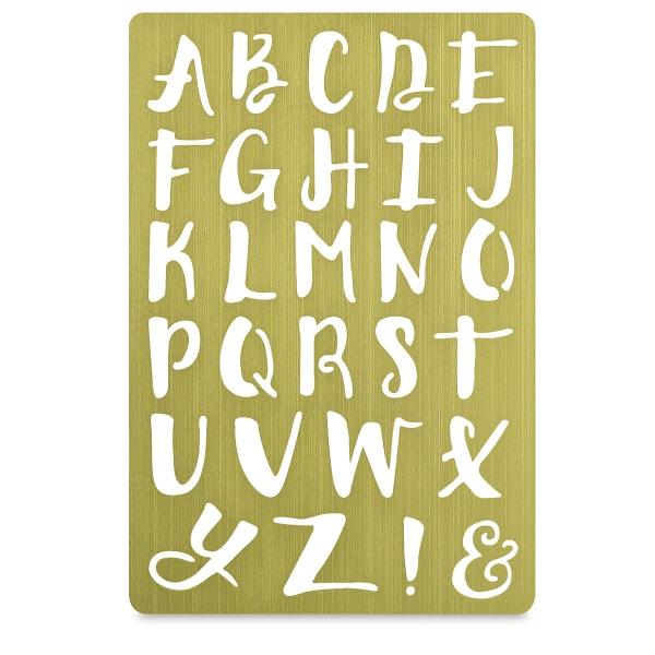 Brass Stencil, Alphabet, Handwritten