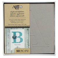 Chipboard Alphabet Stencils, Set of 80