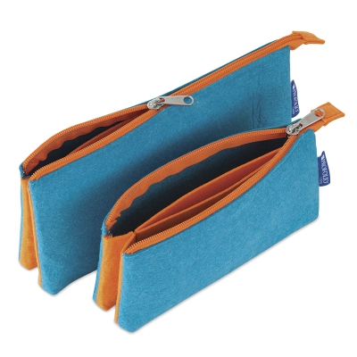 Profolio Midtown Pouches, Both Sizes Shown in Ocean/Orange