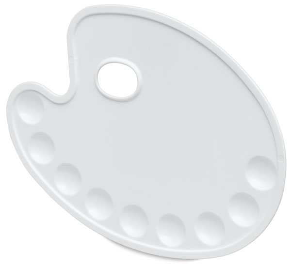 Oval Plastic Palette, 9 Round Wells