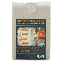 Stay Put Canvas Drop Cloth w/Spill Block, 4 ft x 4 ft