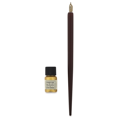 Leonardt Beginners Dip Pen and Ink Set, Gold