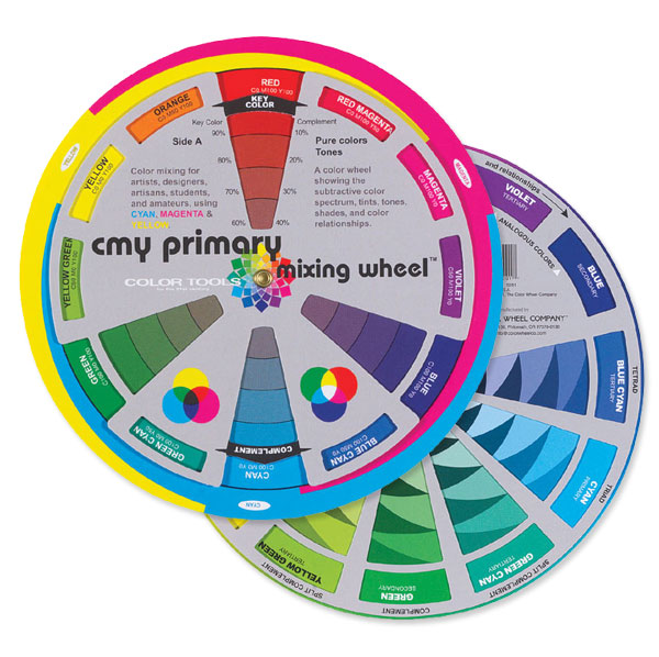 CMY Primary Mixing Wheel, Front and Back Shown