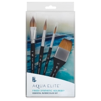 Aqua Elite Synthetic Kolinsky Sable Brushes, Box Set of 4