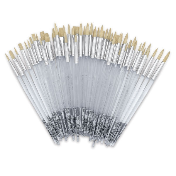 White Bristle, Assorted Rounds and Flats, Short Handle, <br>Set of 60</br>