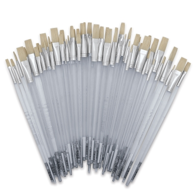 White Bristle, Flats, Long Handle, Set of 60