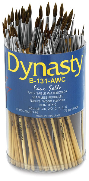 Synthetic Sable Short-Handled Round Brushes<br>Canister Set of 72