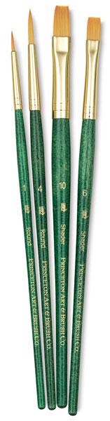 Golden Taklon Brushes, Set of 4 (#9116)