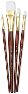 White Taklon Brushes, Set of 4 (#9125)