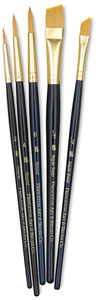 Golden Taklon Brushes, Set of 5 (#9139)