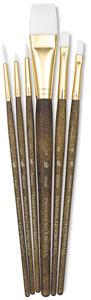 White Taklon Brushes, Set of 6 (#9140)