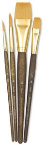 Golden Taklon Brushes, Set of 4 (#9146)