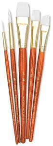 White Taklon Brushes, Set of 5 (#9151)