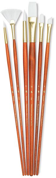 White Taklon Brushes, Set of 6 (#9156)