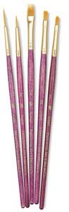 Golden Taklon Brushes, Set of 5 (#9184)