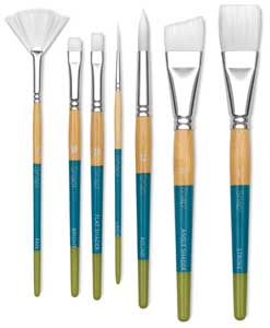 Snap! White Taklon Brushes for Water Media