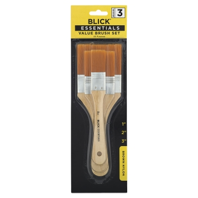 All Purpose Brushes, Brown Nylon, Set of 3