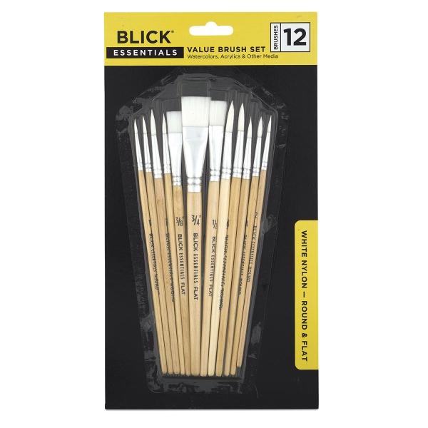 Assorted Brushes, White Nylon, Set of 12