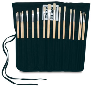 Loew-Cornell Brush Wrap Set - Oil/Acrylic, Set of 18
