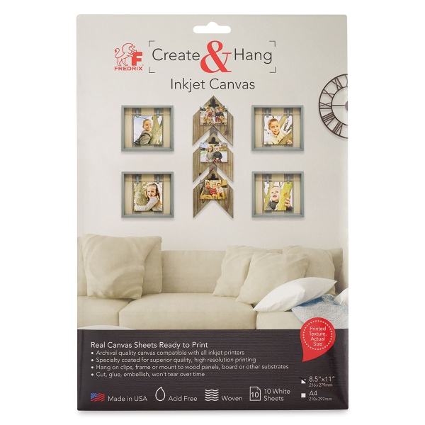 Create & Hang Inkjet Canvas, Pkg of 10