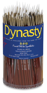 Finest White Synthetic Round, 144 Brush Assortment