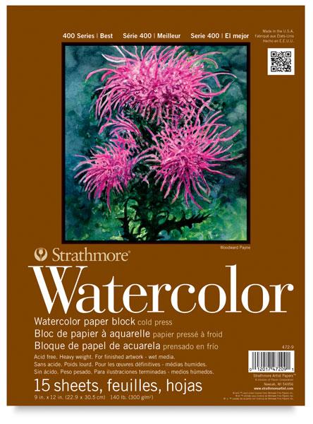 "Watercolor Block, 15 Sheets<br>9"" × 12"""
