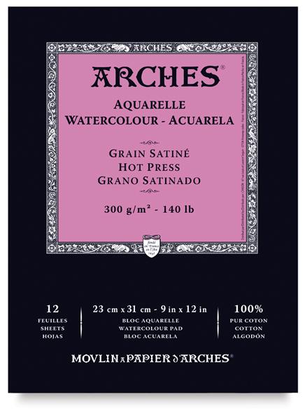 "Arches Watercolor Pad, Hot Press, 9"" × 12"""