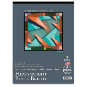 Black Bristol Pad, 12 Sheets