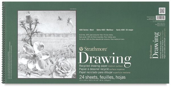 """Drawing Pad, Landscape, 24 Sheets,<br>12"""" × 24½"""""""
