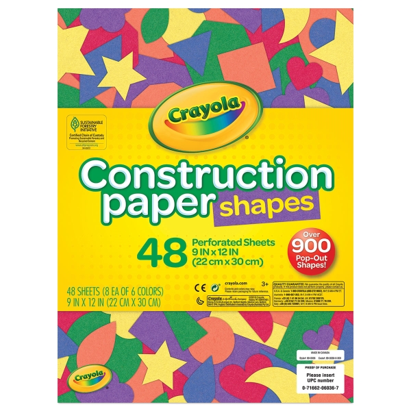 Construction Paper Shapes, Pkg of 48