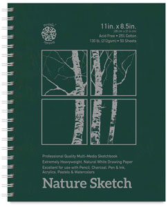 "Nature Sketch Book, 11"" x 8.5"", 50 Sheets"