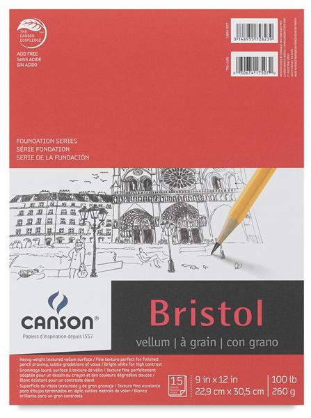 "Bristol Pad, Vellum Finish, 15 Sheets, 9"" × 12"""