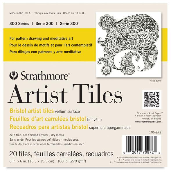 """300 Series Bristol Artist Tiles, 6"""" × 6"""", Pkg of 20 Tiles"""