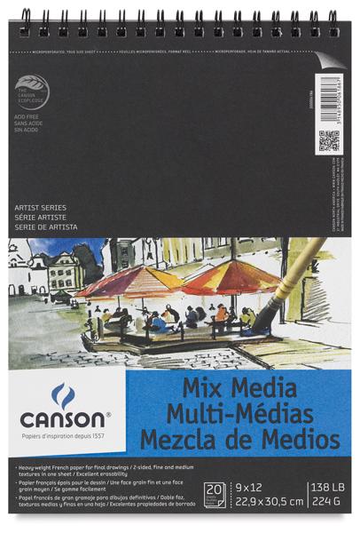 "Wirebound Mix Media Pad, 20 Sheets, Portrait, 9"" × 12"""