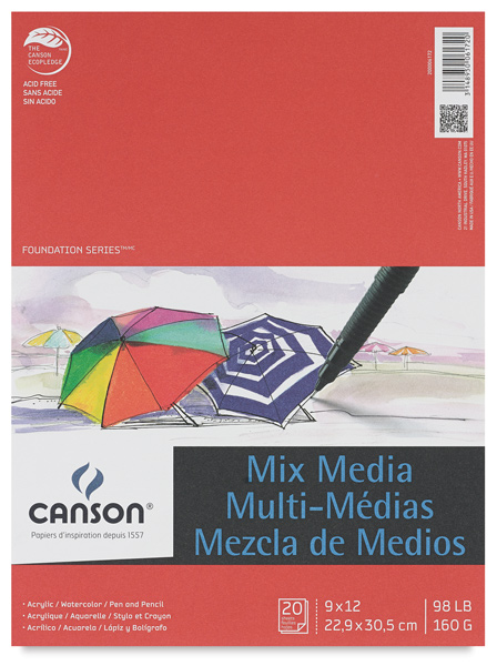 "Mix Media Pad, 20 Sheets, 9"" × 12"""