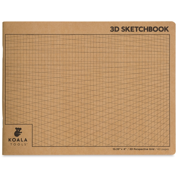 2-Point Perspective 3D Grid Sketchbook, 30 Sheets/60 Pages