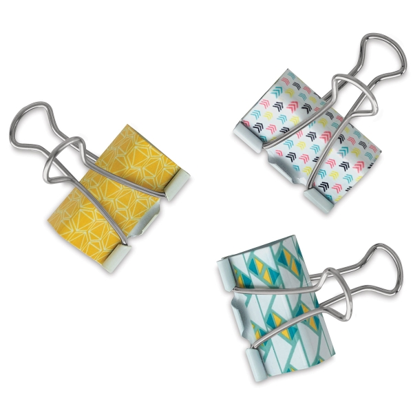 Binder Clips, Fabric Covered, Pkg of 3