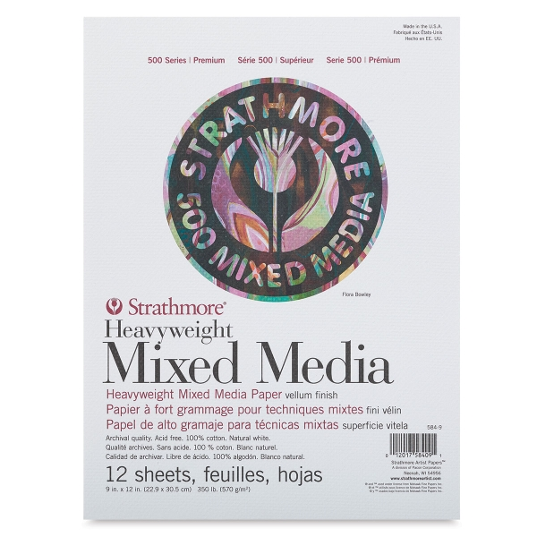 "500 Series Heavyweight Mixed Media Pads, 9"" x 12"""