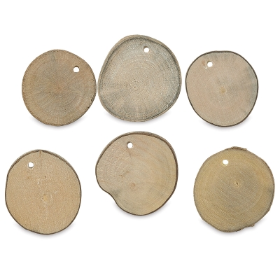 Natural Wood Slab Tags, Pkg of 6