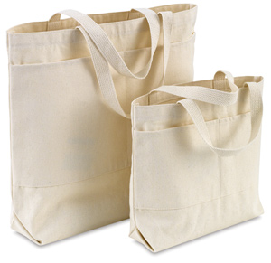 Canvas Tote Bags, w/Pockets