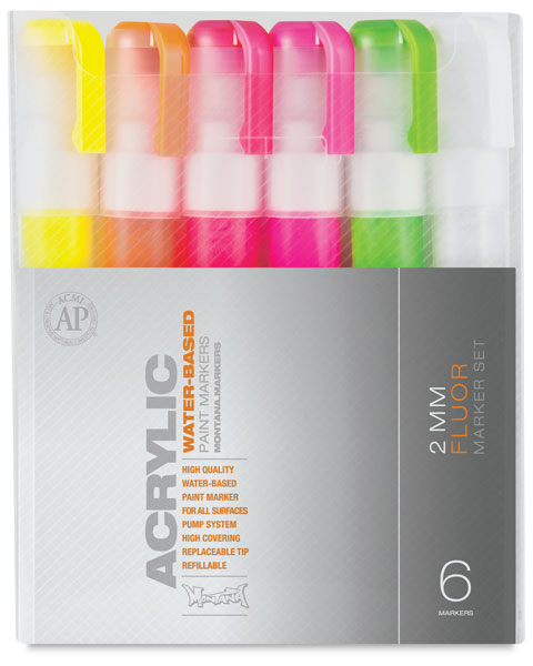 Fluorescent, Fine Point, Set of 6