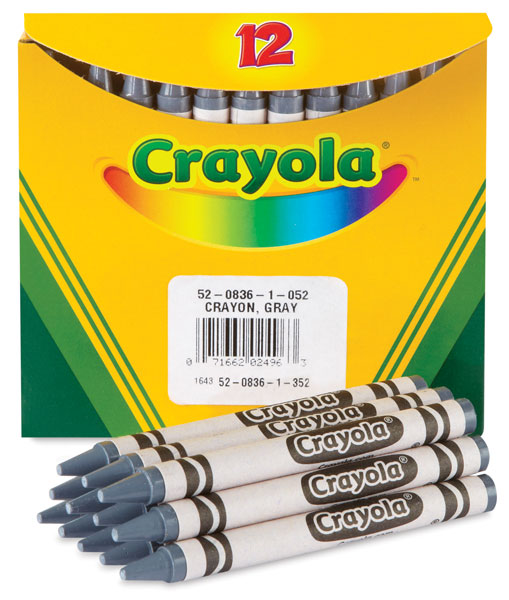 Gray Crayons, Box of 12 (Bulk)