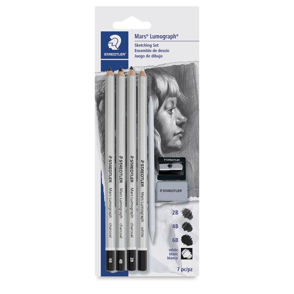 Mars Lumograph Charcoal Pencils, Set of 7