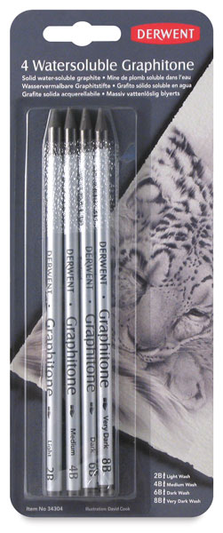 Graphitone Water Soluble Pencils, Pkg of 4