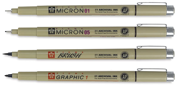 Now Available: the Full Micron Assortment. Please refer to chart below to  see which colours are available in which sizes.